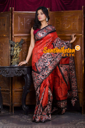 Hand Batik On Murshidabad Silk SN20198658