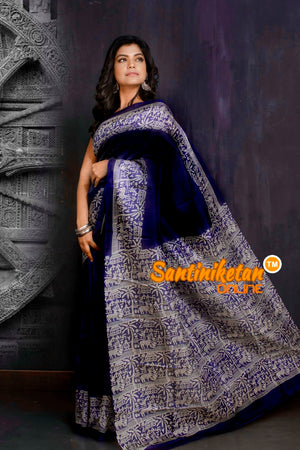 Hand Block On Murshidabad Silk SN20209105
