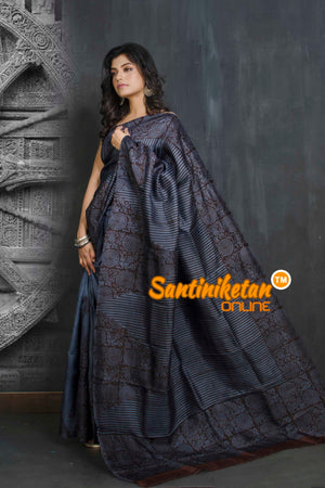 Hand Block On Murshidabad Silk SN20209119