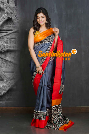 Hand Block On Murshidabad Silk SN20209152