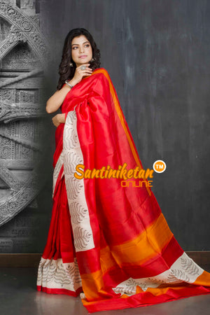 Hand Block On Murshidabad Silk SN20209155