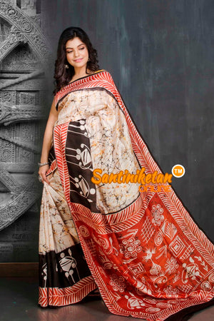 Hand Batik On Murshidabad Silk SN20209179