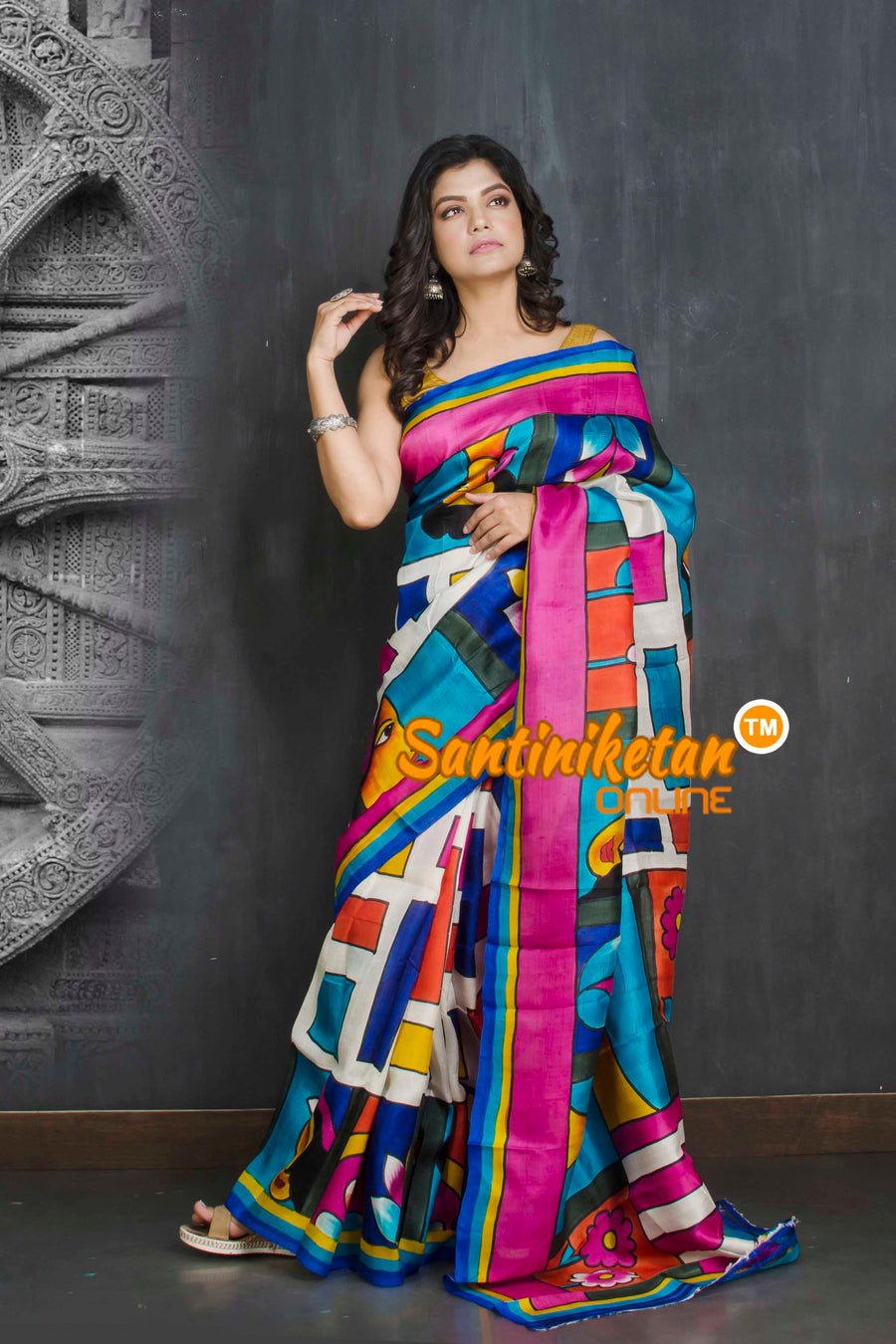 Hand Made Design On Murshidabad Silk SN20209219