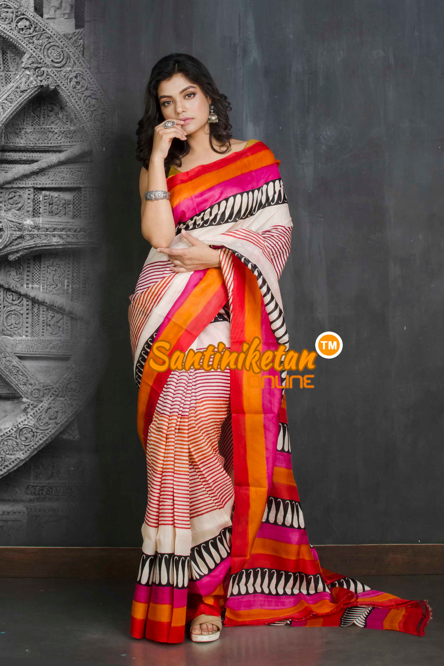 Hand Block On Murshidabad Silk SN20209265