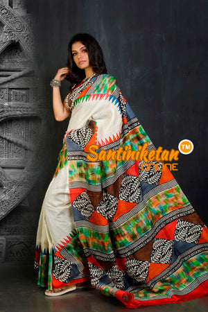 Hand Block On Murshidabad Silk SN20202032