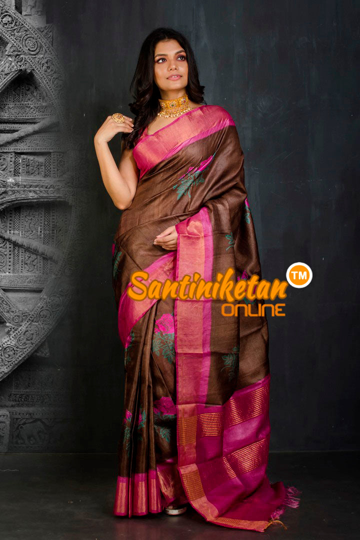 Hand Painted Tussar Silk SN20202074