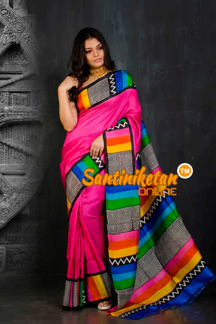 Hand Block On Murshidabad Silk SN20202086