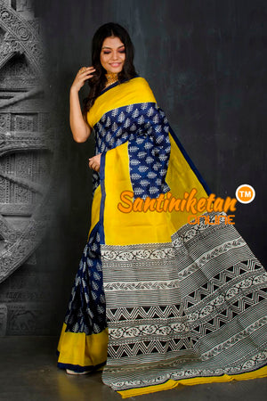 Hand Block On Murshidabad Silk SN20202098