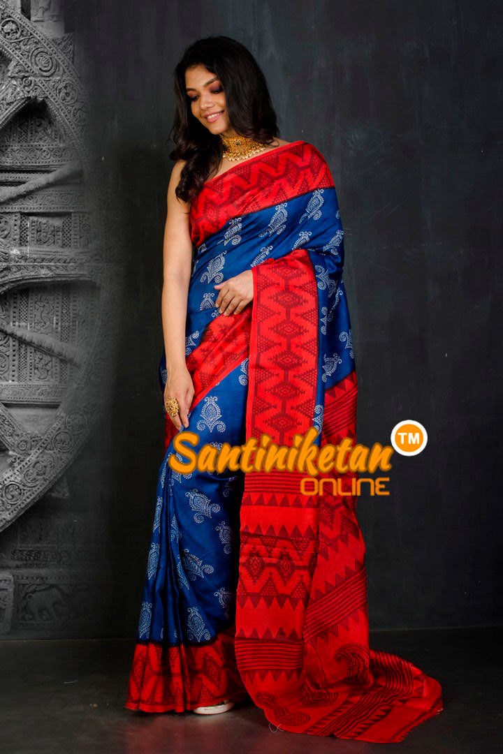 Hand Block On Murshidabad Silk SN20202101