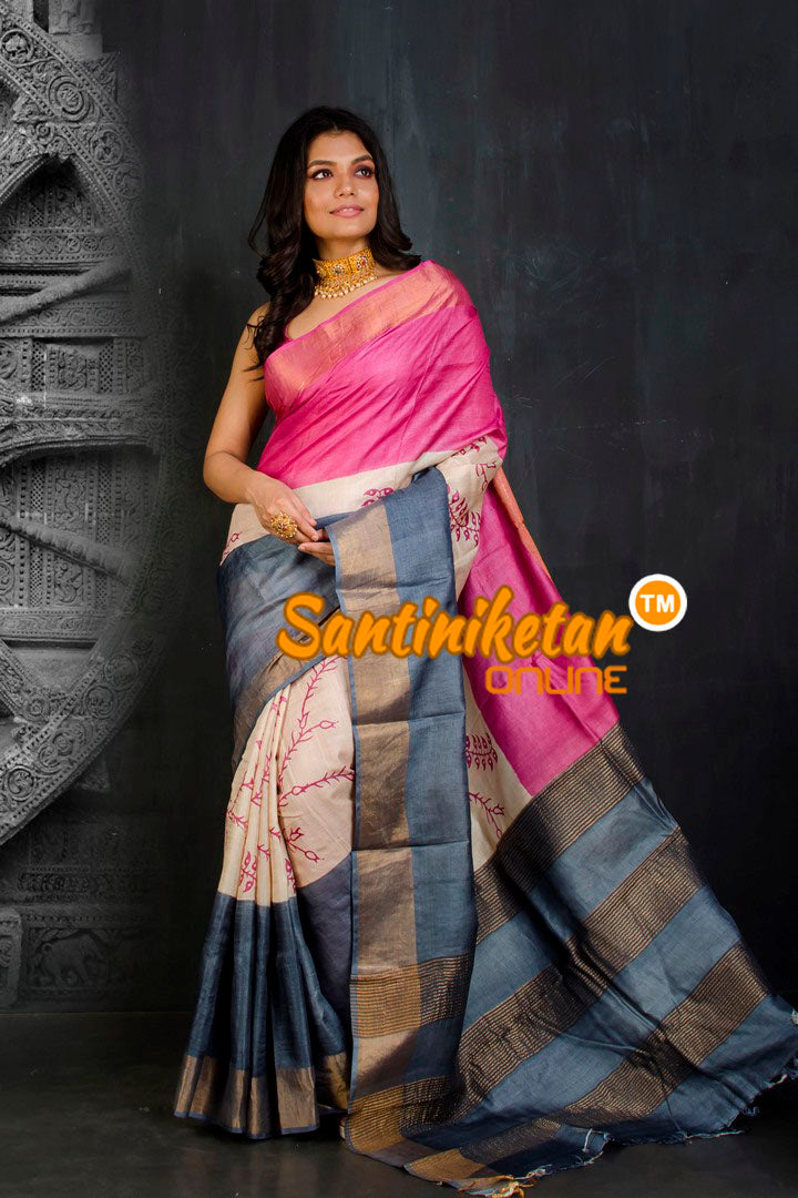 Hand Painted Tussar Silk SN20202113