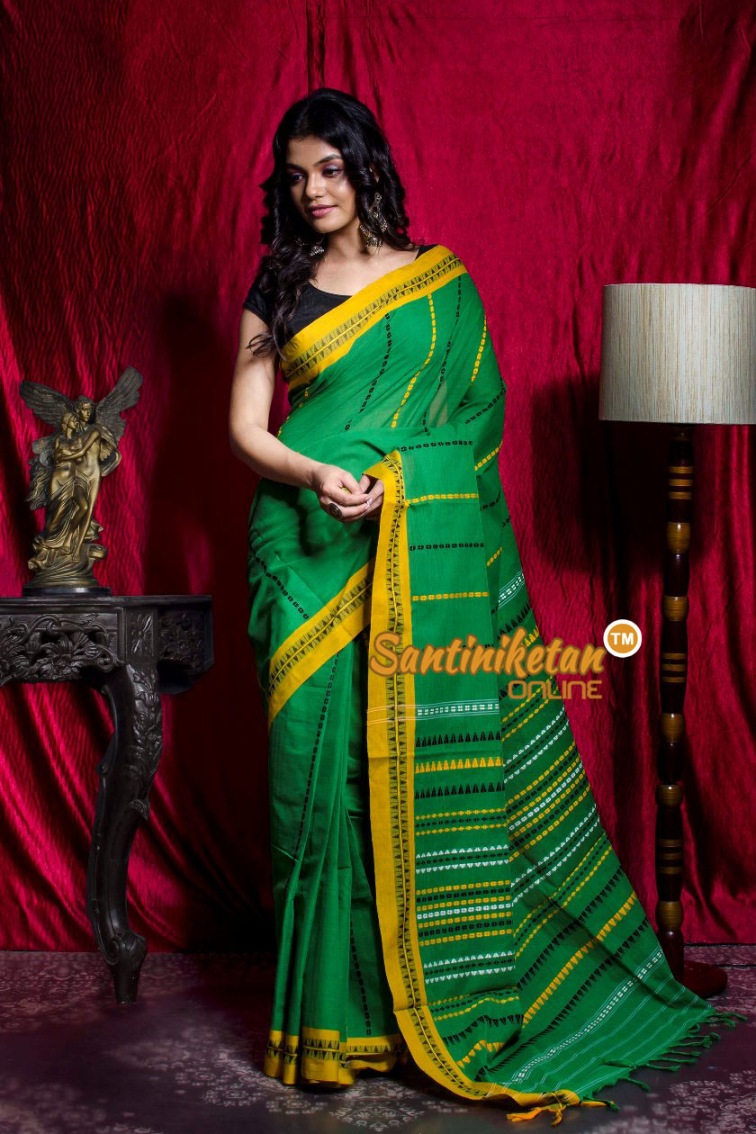 Green Yellow Color Design Border Begampuri Saree SN20203476