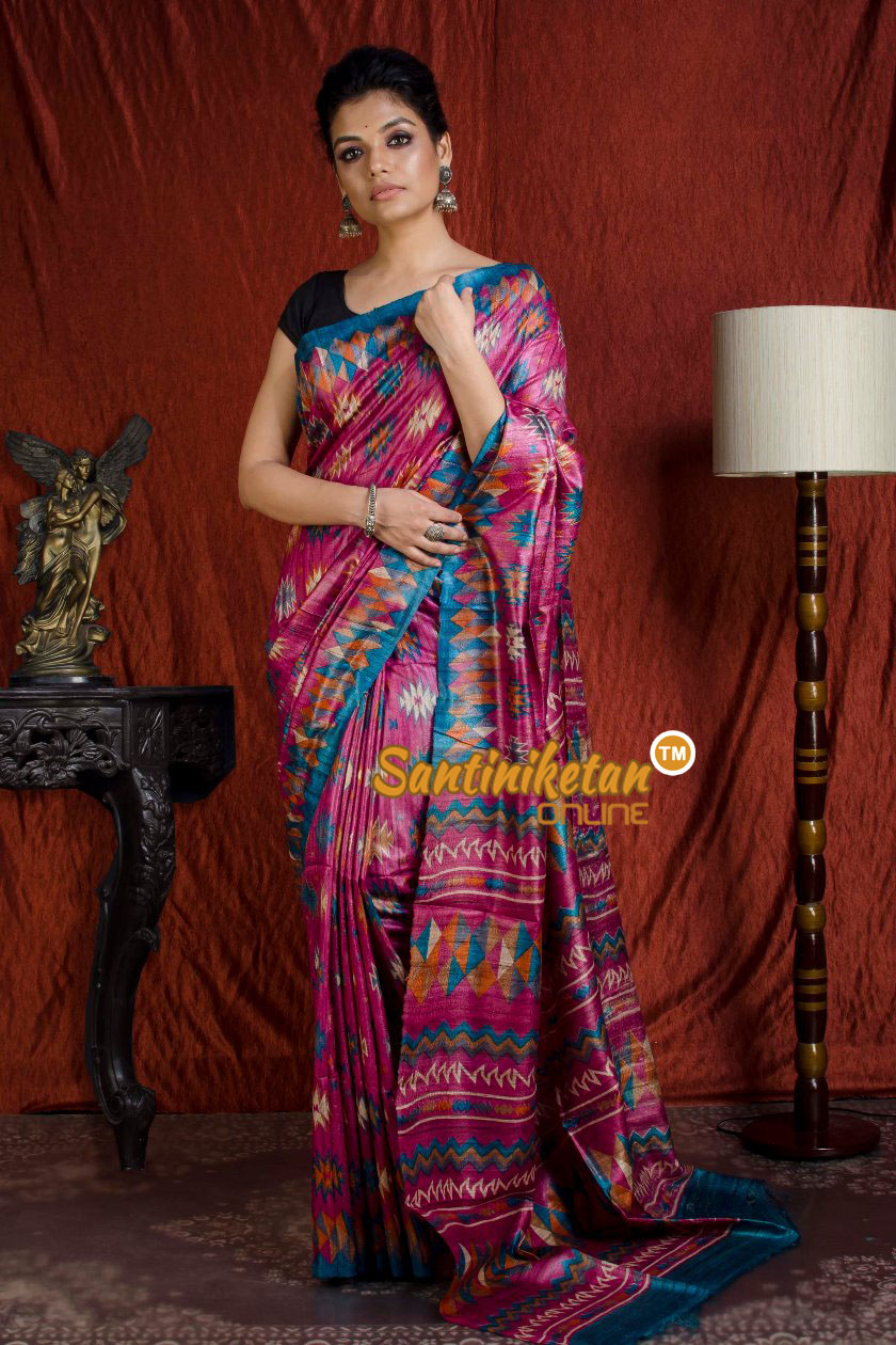 Hand Print On Ghicha Silk  Saree SN20203924
