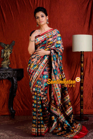 Hand Print On Ghicha Silk  Saree SN20203927