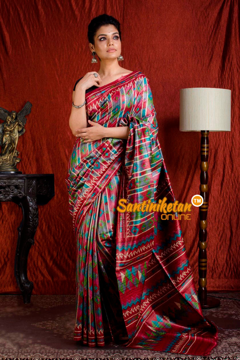 Hand Print On Ghicha Silk  Saree SN20203930