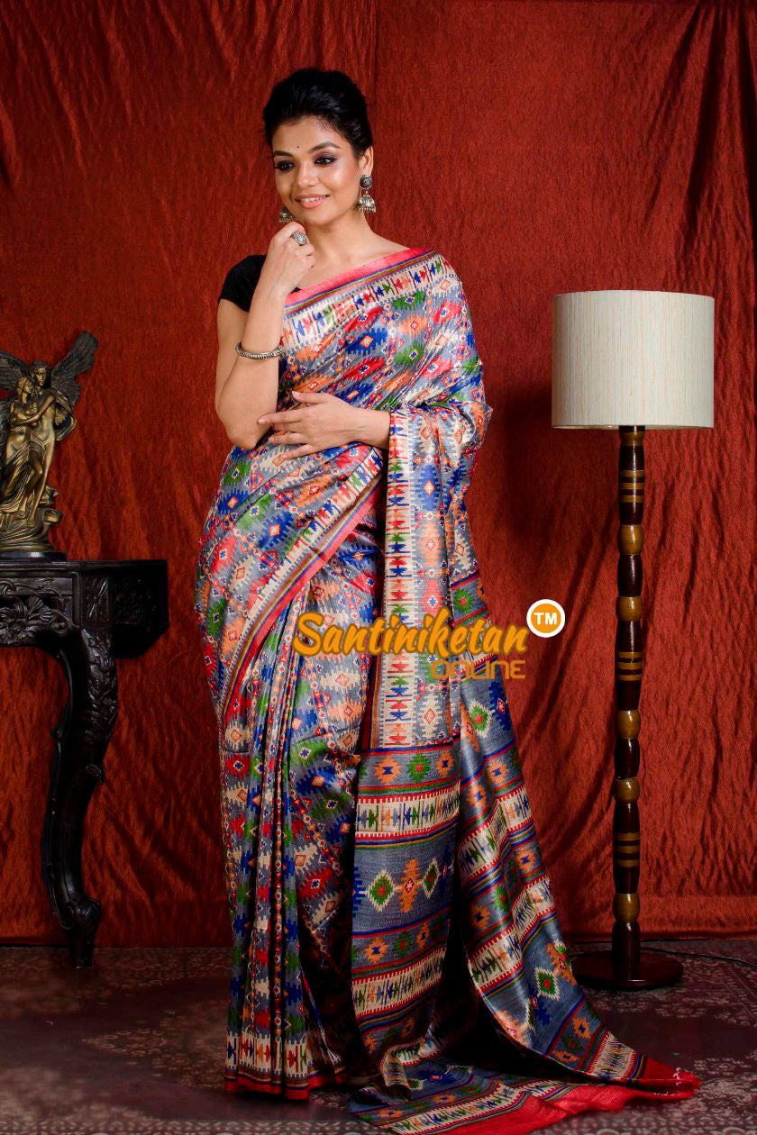 Hand Print On Ghicha Silk  Saree SN20203933