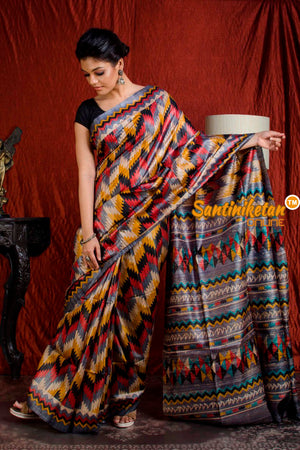 Hand Print On Ghicha Silk  Saree SN20203936