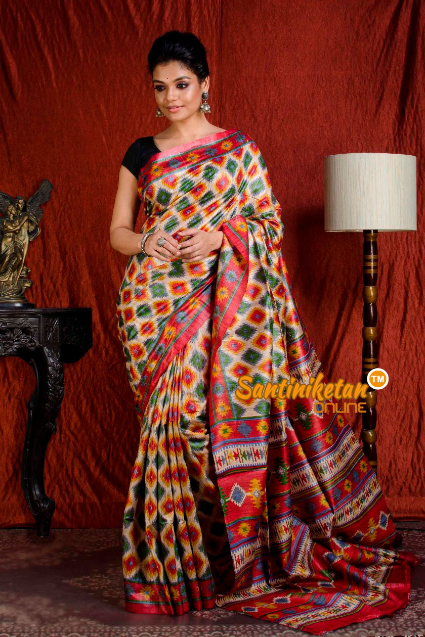 Hand Print On Ghicha Silk  Saree SN20203939