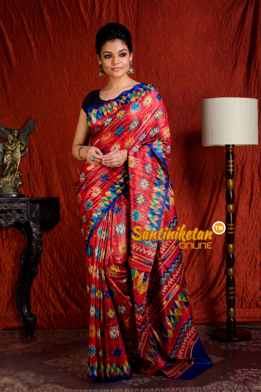 Hand Print On Ghicha Silk  Saree SN20203942