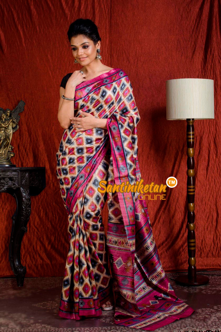 Hand Print On Ghicha Silk  Saree SN20203947