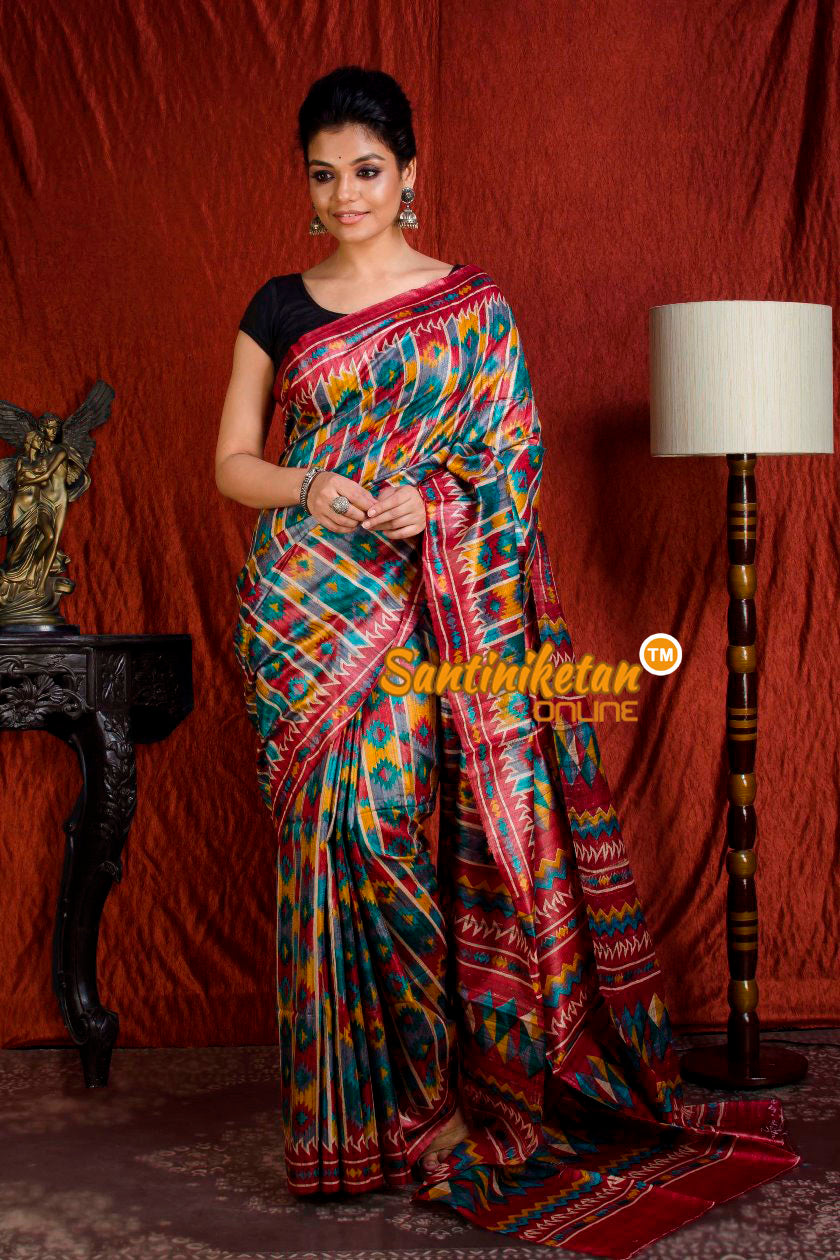 Hand Print On Ghicha Silk  Saree SN20203950