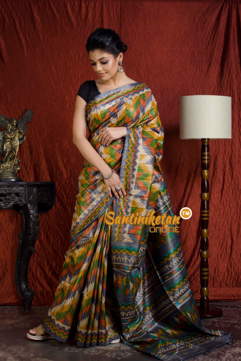 Hand Print On Ghicha Silk  Saree SN20203953