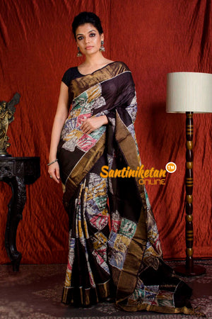 Hand Batik On Zari Tussar Silk SN20203976