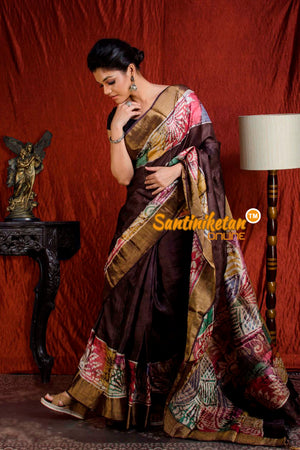 Hand Batik On Zari Tussar Silk SN20204023
