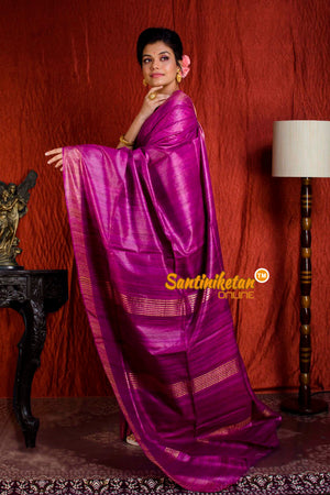 Handwoven Golden Jori Border Ghicha Saree SN20205042