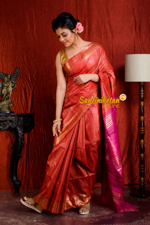 Handwoven Golden Jori Border Ghicha Saree SN20205049