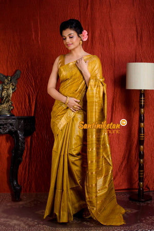 Handwoven Golden Jori Border Ghicha Saree SN20205067