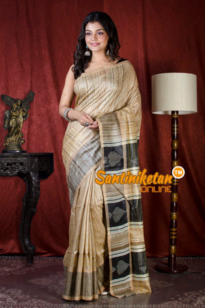 Handwoven Golden Jori Border Ghicha Saree SN20206734