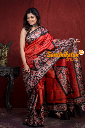 Hand Batik On Murshidabad Silk SN20217789