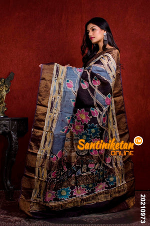Hand Batik On Zari Tussar Silk SN20210973