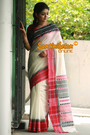 White Color Begampuri With Tribal Worked Pallu And Border (SN2017281)