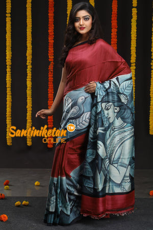 Hand Made Design On Murshidabad Silk 09 (SN2018680)
