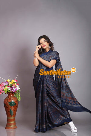 Ajrakh Hand Block On Modal Silk SN20194247