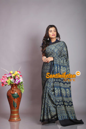 Ajrakh Hand Block On Modal Silk SN20194260