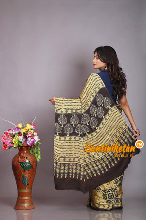 Ajrakh Hand Block On Modal Silk SN20194309