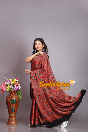 Ajrakh Hand Block On Modal Silk SN20194331