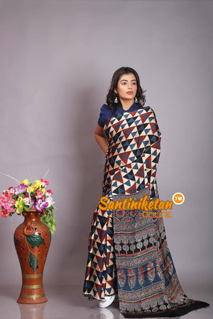 Ajrakh Hand Block On Modal Silk SN20194343