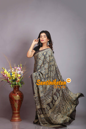 Ajrakh Hand Block On Modal Silk SN20194361