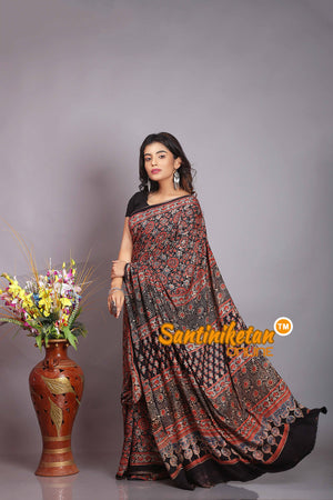 Ajrakh Hand Block On Modal Silk SN20194379
