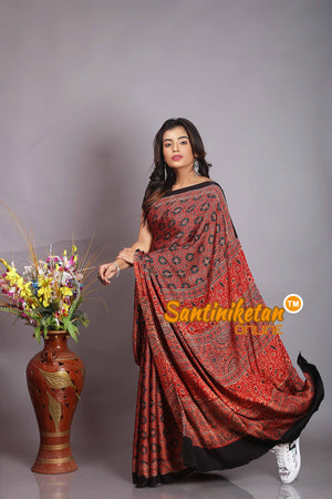 Ajrakh Hand Block On Modal Silk SN20194463