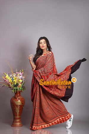 Ajrakh Hand Block On Modal Silk SN20194510