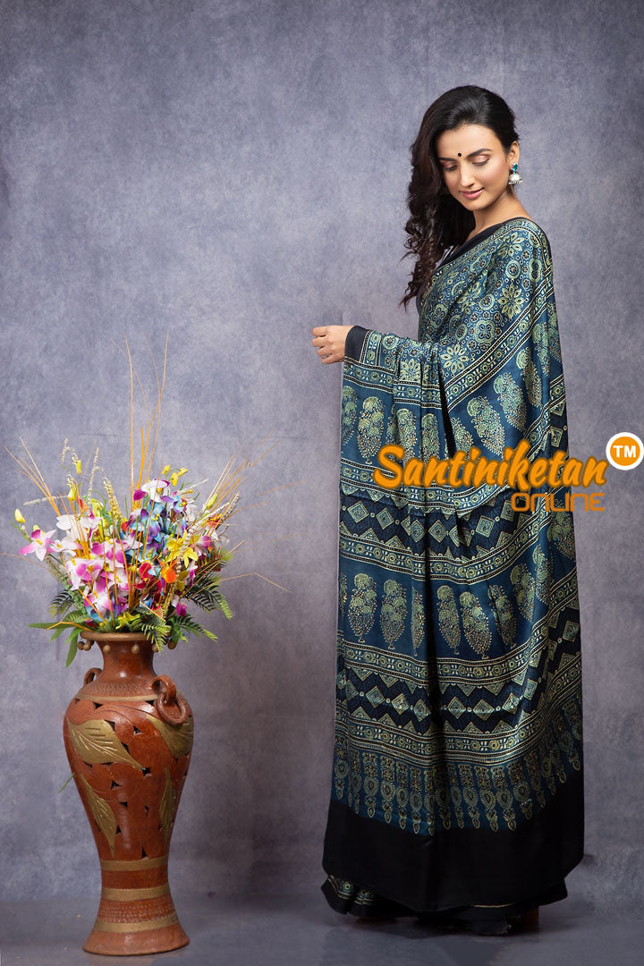 Ajrakh Hand Block On Modal Silk SN20208155