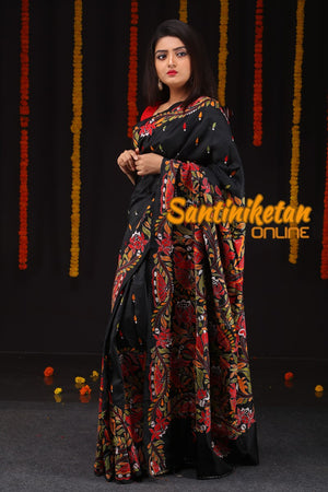 Black Saree With Kantha Stitch (SN201679)