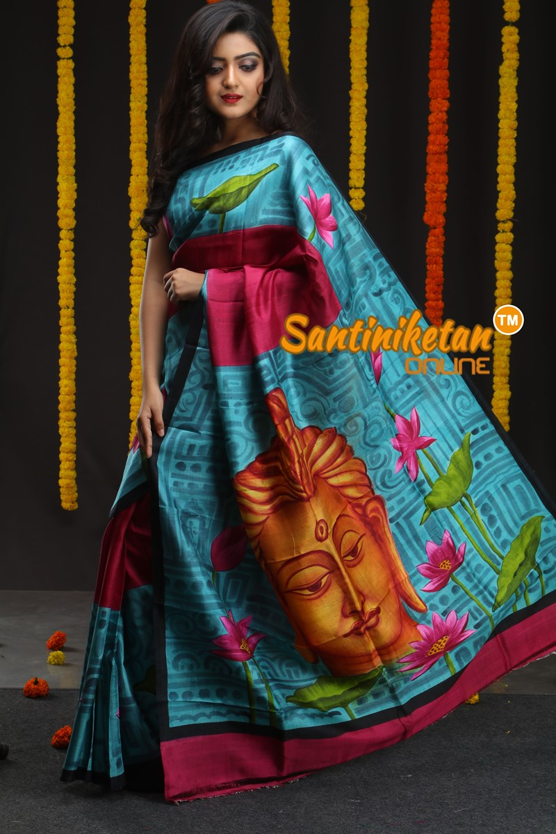 Hand Made Design On Murshidabad Silk 05 (SN2018676)
