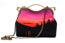 Load image into Gallery viewer, Magenta Crescent Velvet Handbag