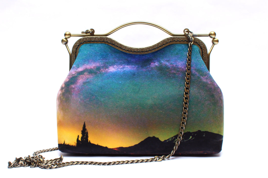 Mt Shasta Under the Milky Way Velvet Handbag
