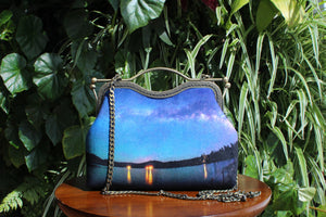 Bass Lake Under the Milky Way Velvet Handbag